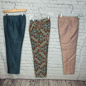 J.Crew Collection Skinny 100% Silk Pants LOT OF 3